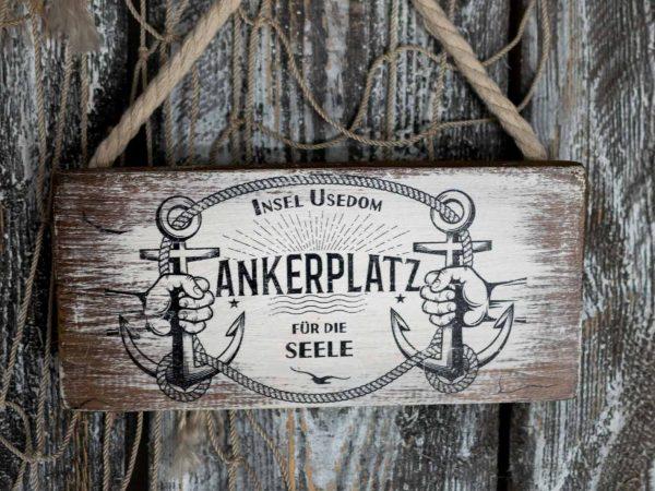 Maritimes Holzschild Insel Usedom